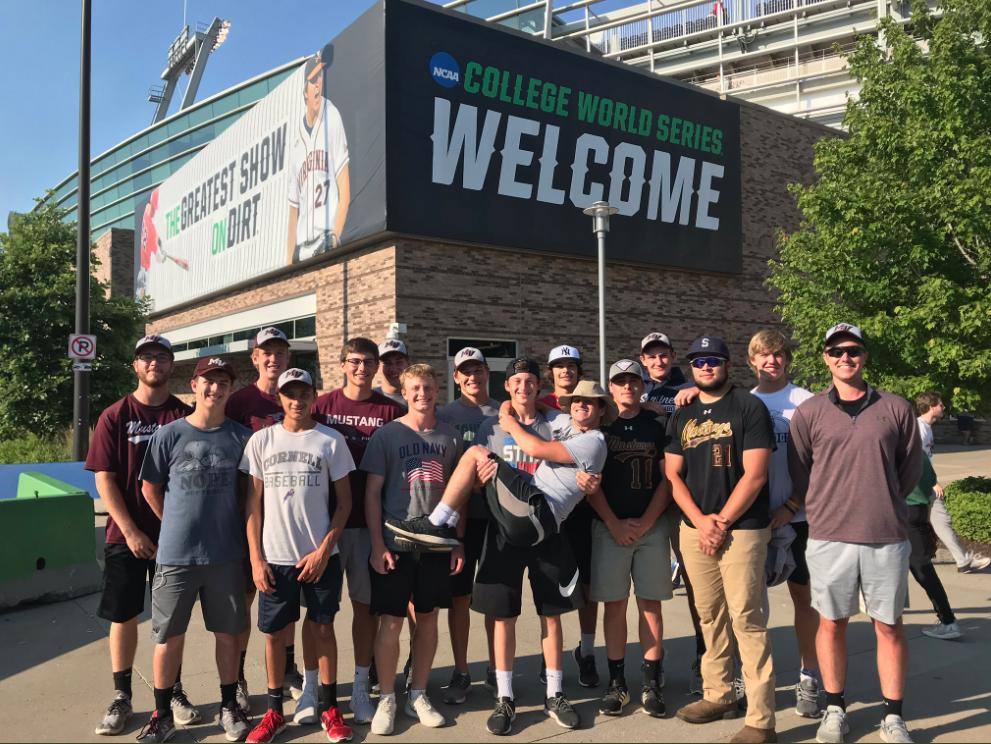The Mount Vernon Mustangs varsity baseball team poses for a photo outside of TD Ameritrade Park in Omaha, NE.
