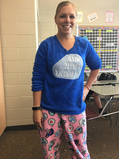 Hoco+week%2C+Mrs.+Strope+on+Monday+Sept.+23%2C+participating+in+the+Hoco+fun+by+wearing+her+clothing+backwards.+