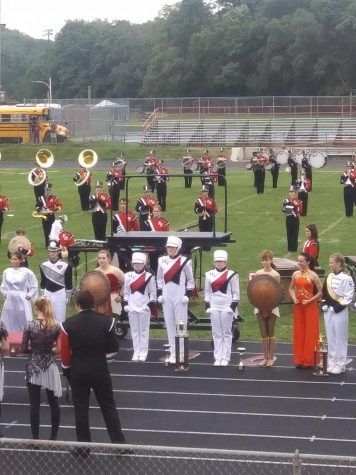 The marching band competes at the Fort Madison competition Sept. 21