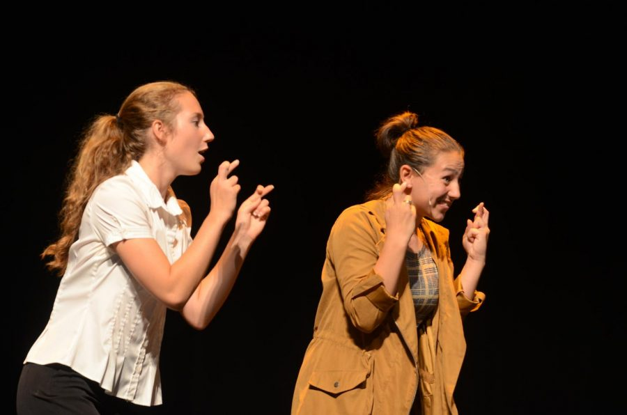 Juniors Sophia Andrews and Ashlyn Steen begging for good news in [Title Of Show].