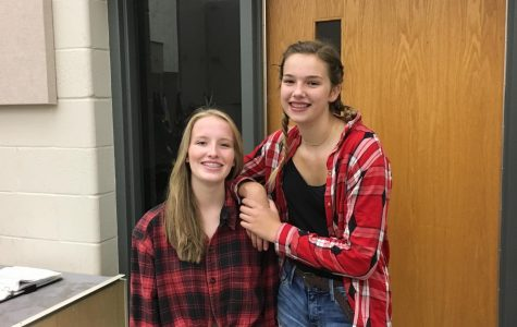 Smiling Wide! Freshmen Lucy Maddock and Kaleigh Jordan dress out for Country vs Country Club day on Sept 24. Photo by Henry Maddock