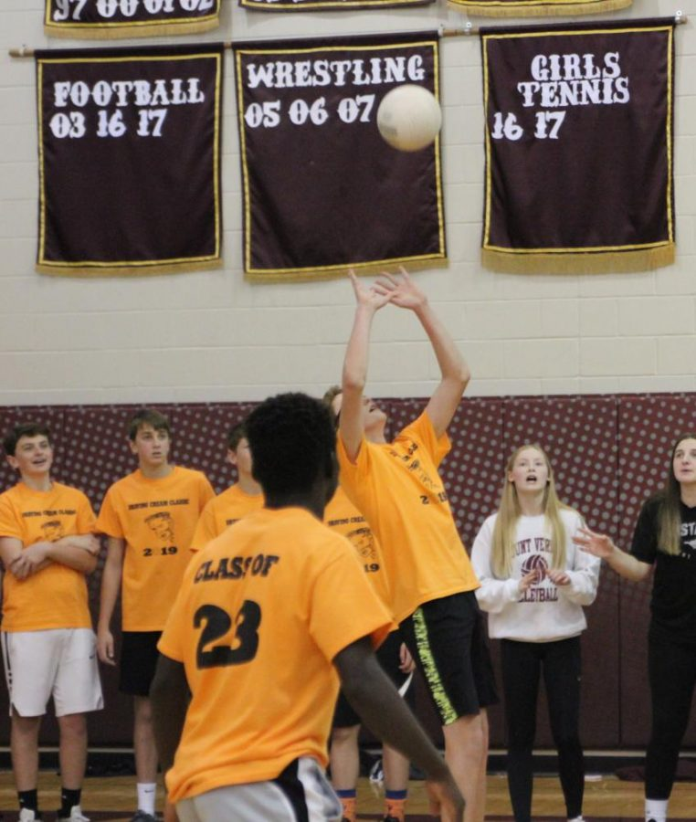 Freshman Ben Merlak leaps for the ball during his match against the sophomores.