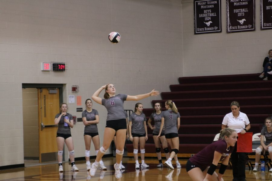Brand jump serves the ball during the Jesup game on Oct. 29.