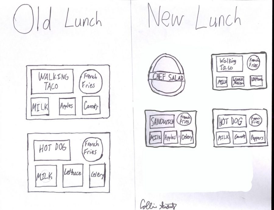 The new and improved lunches versus the old lunches from last year.
