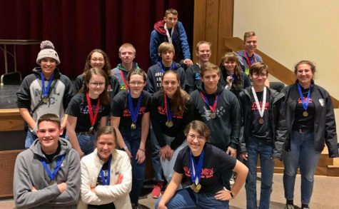The Science Olympiad team poses after a home competition in December.