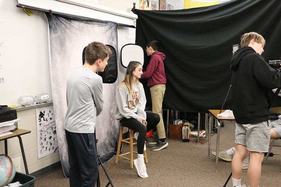Sophomores Kambree Hultquist, Diego Torres-Roe, Leo Appleton, Devon Pirrie, and Caelan Hunter experiment with lighting and video recording in the Documentaries and Podcasts J-Term class.
