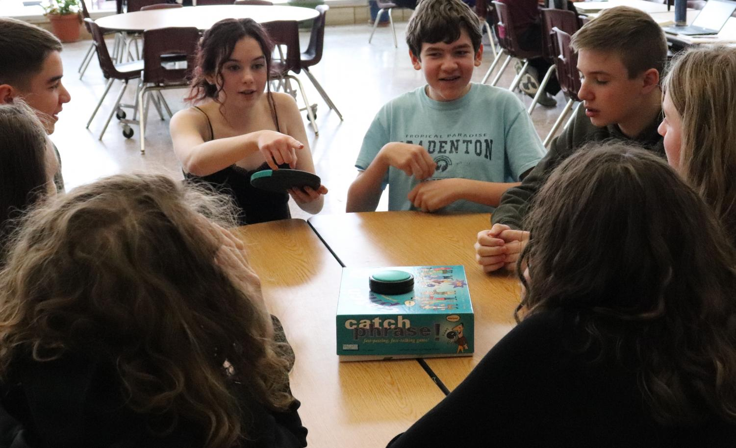 Freshmen in J-Term class play boardgames as they start the week.