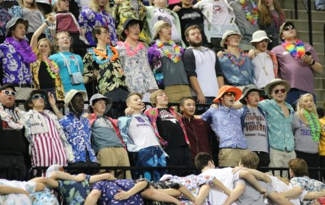 Fans chant the Mustang Spirit cheer at volleyball state finals Nov. 15.