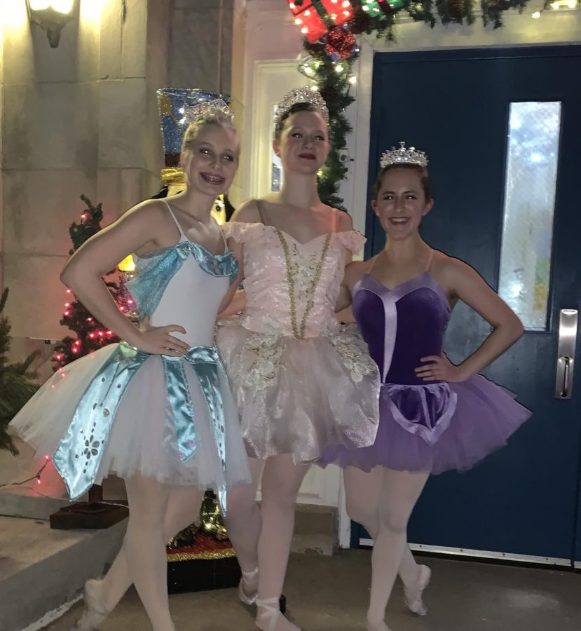 Ashlee+Elliott+stands+with+her+two+friends%2C+Angel+Barkalow+and+Emrys+Yamanishi%2C+after+their+2019+performance+of+the+Nutcracker.+