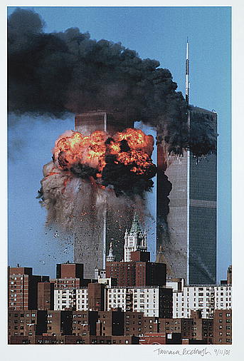 Tamara Beckwith, [View of World Trade Center towers, New York, New York, with tower #2 exploding in a ball of fire after the September 11th terrorist attack], September 11, 2001. Inkjet print Gift of Thomas B. and Katherine B. Martin. Prints and Photographs Division (157) //www.loc.gov/pictures/item/2002716959/
