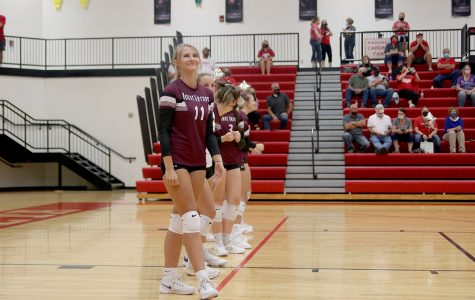 Senior Danielle Pitts starts as a right side hitter for the match against Maquoketa. How has the sport been like for the girls this season? According to Danielle Pitts