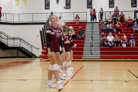 """Senior Danielle Pitts starts as a right side hitter for the match against Maquoketa. How has the sport been like for the girls this season? According to Danielle Pitts """"New protocols for safety have been a learning curve, but it has also been a place of release. I am very thankful to get to play through these ungrateful times."""""""