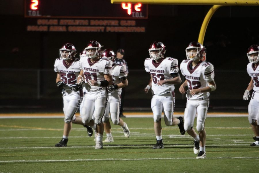 The Mustangs running off the field for a  time out, Solon Oct. 2. The Mustangs lost 42-14