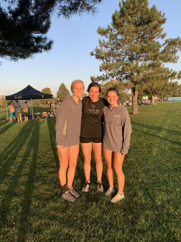 Picture taken at the West Delaware meet. Anna Hoffman left, Nadia Telecky middle, Laura Swart right.