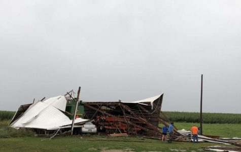 collapsed barn on the Russell farm.