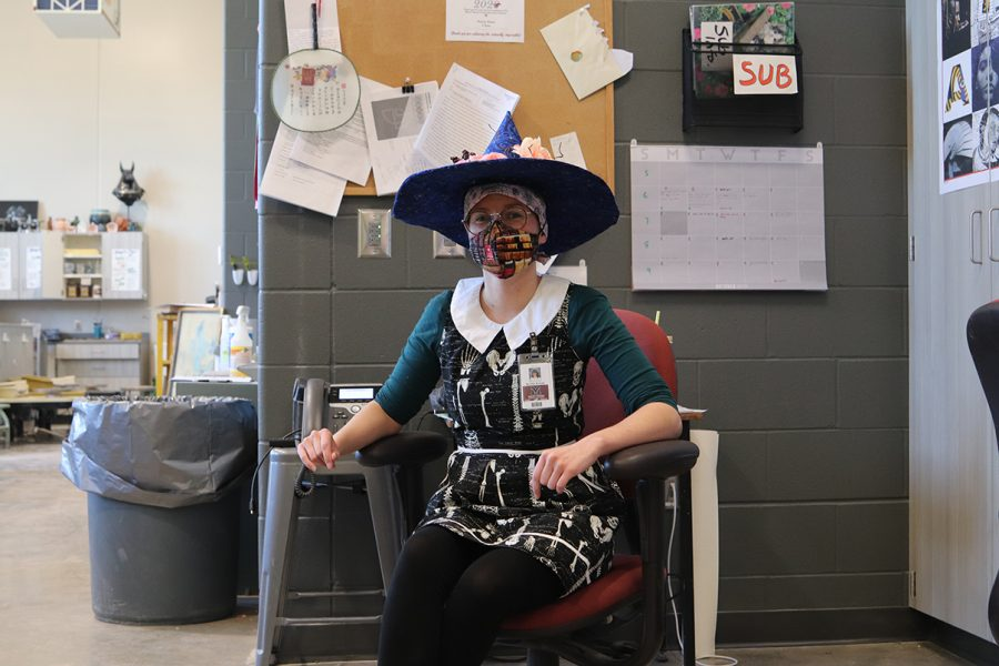 Art Teacher Bonnie Ahrens is a witch for favorite holiday day.
