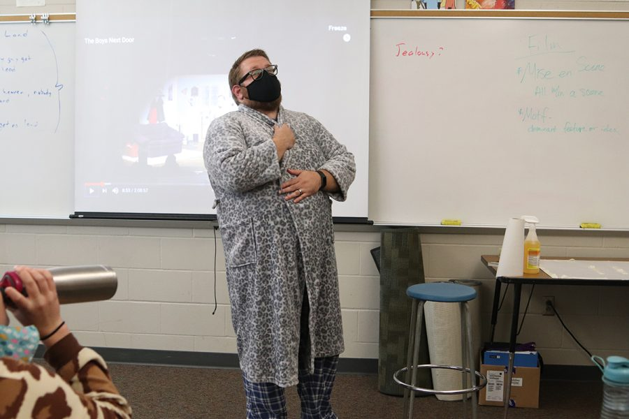 English teacher Ned Kelly dresses up for pajama day.