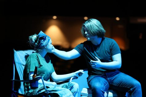 Senior Natalie Spinsby and junior Milo Olinger rehearse Ugly Lies the Bone on Sept. 9.