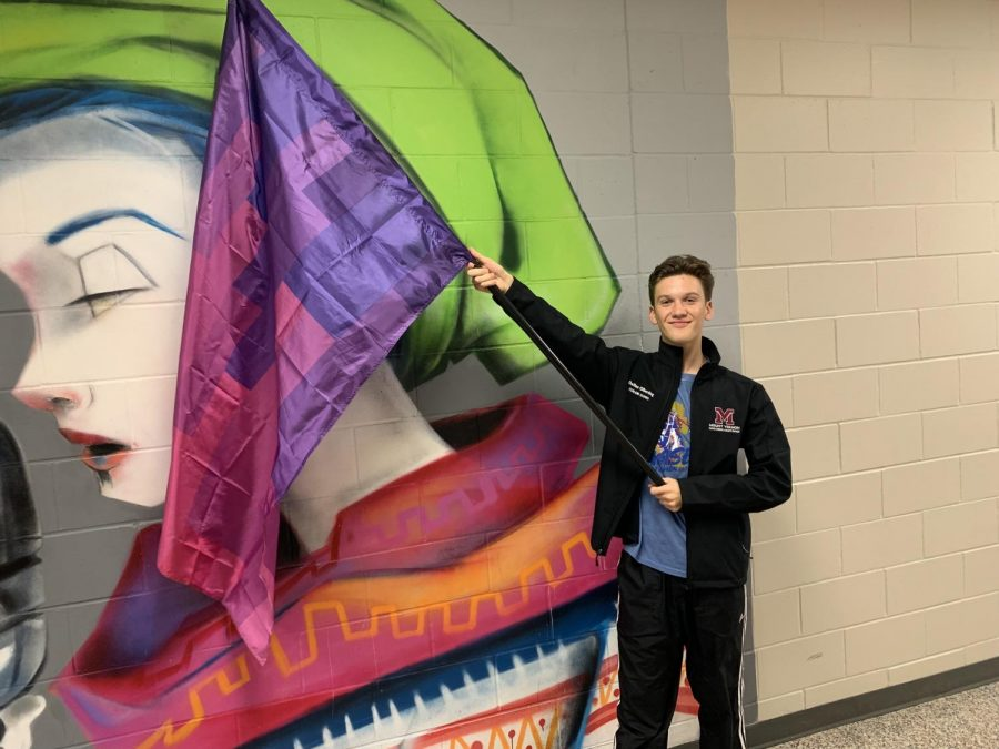 Dallas Olberding with his color guard flag