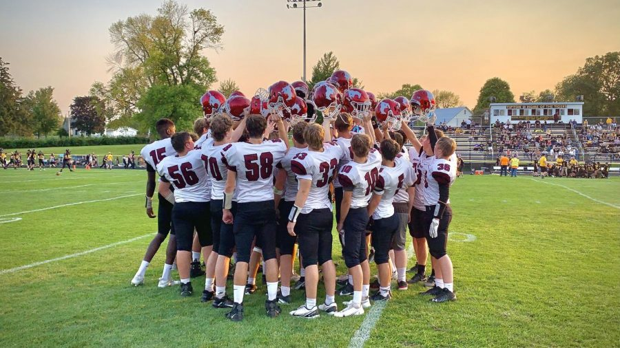 The freshman-sophomore football team gathers after the Tipton game in September.